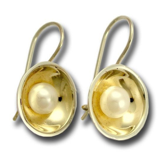 Bridal  Sterling Silver Gold Earrings