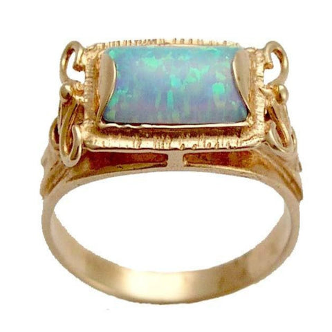 Blue opal rose gold ring