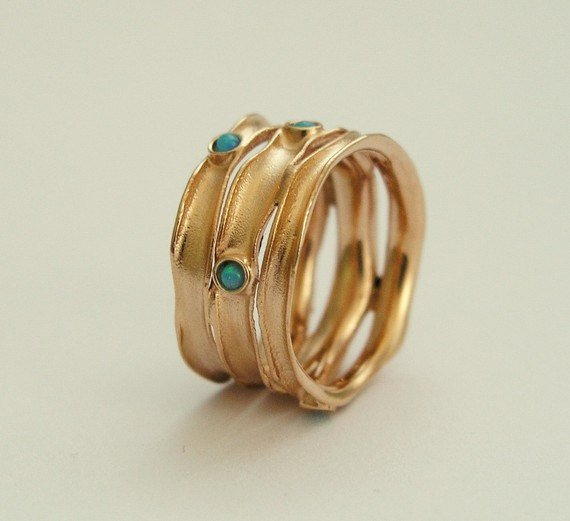 Turquoise Rose Gold stacking ring RG1020S