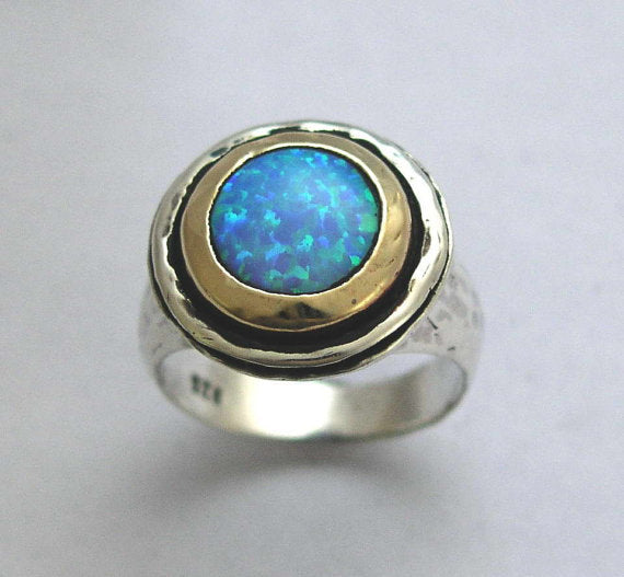 blue opal two tone ring