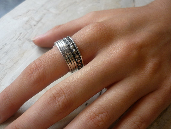 Silver wedding ring, silver band, floral ring, silver stack ring, spinner ring, meditation ring, wide band - You'll be in my heart R1738A