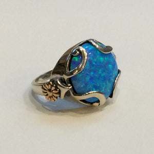 Large Opal ring, Silver Gold Ring, boho ring, blue stone ring, Gemstone ring, statement cocktail ring, floral ring - To feel again R2336