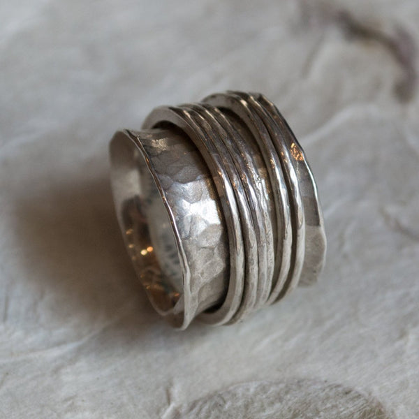 Bohemian band, silver stacking spinners, wide silver ring,unique ring for her, meditation ring, hammered  band - Falling free R1026Q