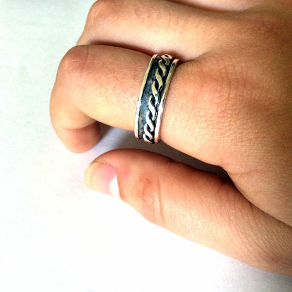 Unisex Ring, infinity Band, Silver spinning Ring, Men Ring, Meditation ring, Narrow wedding band, silver Spinner Ring - Long way home R2195