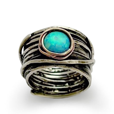 Opal ring, Boho ring, silver gold ring, gypsy ring, Valentines gift, unique engagement ring for her, casual - Imagine life in peace 2 R1505G