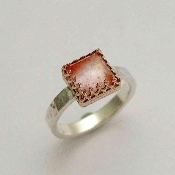Moonstone Ring, square stone ring, Engagement ring, gemstone ring, silver gold ring, crown ring, hammered ring - Rose kingdom. R1095H-1