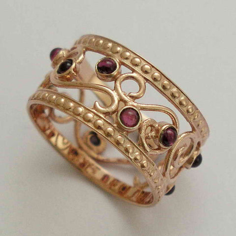 Solid rose gold wedding band,  multi stones ring, wide gold ring, Garnets ring, boho wedding band, gift for her - Shades of spring RG1267
