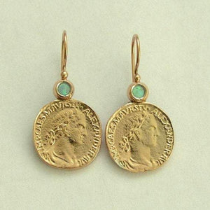 14k yellow gold Coin opal earrings