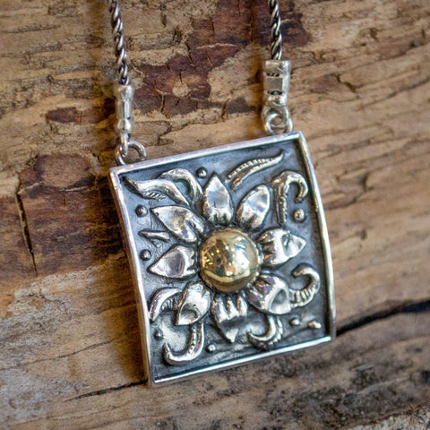 Sunflower pendant, Sterling silver necklace, yellow gold necklace, mixed metal necklace, square silver gold pendant  -  Sunflower N0427A