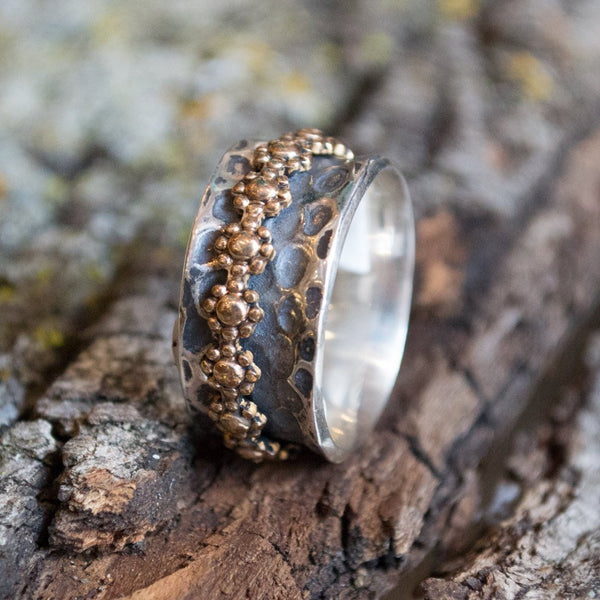 Sterling silver ring, spinner ring, thin floral ring, mixed metal ring, gold ring, wedding band, silver gold ring, oxidized - I feel R2171