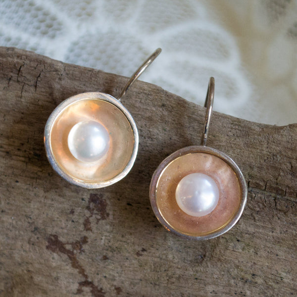 Sterling silver earrings, silver and yellow gold earrings, freshwater pearl earrings, mixed metal earrings, pearl earrings - Serenity E2081G