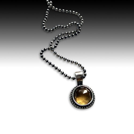 Citrine pendant, Sterling silver necklace, silver stone necklace, necklace with pendant, little pendant, ball chain - Close to me N2007