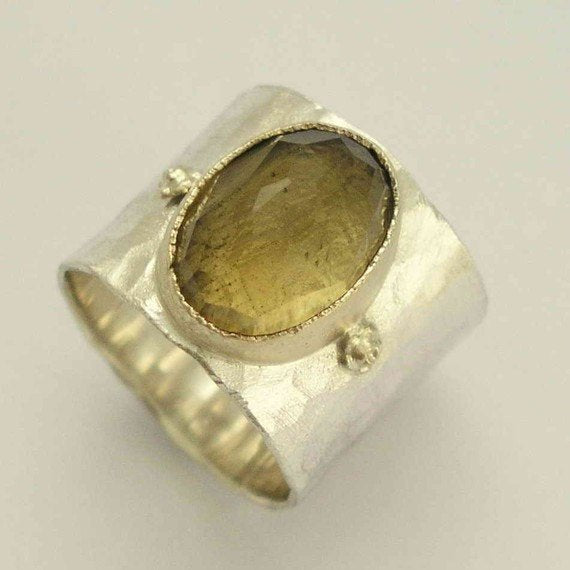 Smoky quartz ring, silver gold ring, Wide silver band, sterling silver band, gemstone ring, stone ring, two tones ring - Explore R1026P-1