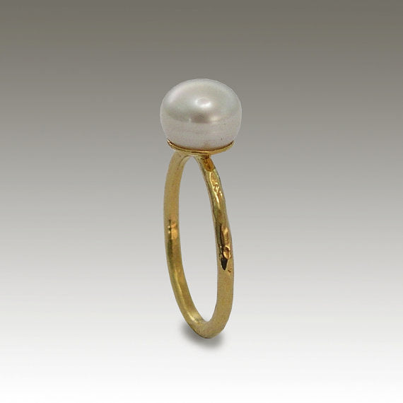 ONE pearl ring, 14k yellow gold ring, single pearl ring. peach pearl ring, black pearl ring, white pearl ring - Young Love RG1533
