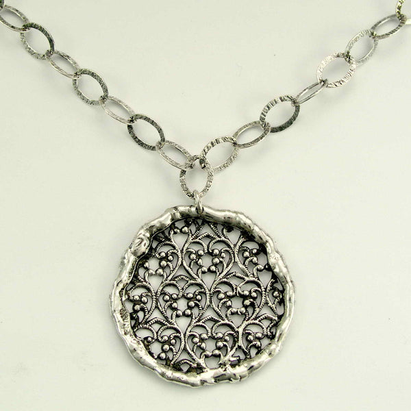round lace silver statement necklace