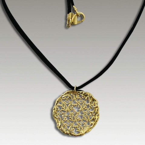 14k yellow gold round lace necklace on black suede string