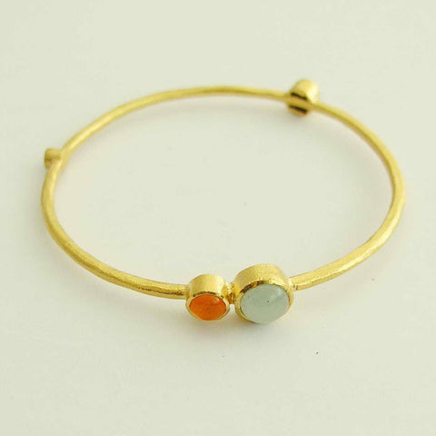 14k yellow gold bangle, jade, carnelian, coral, pearl bangle, brushed gold bangle, gold bracelet, simple gold bangle - Burning bright BG6700