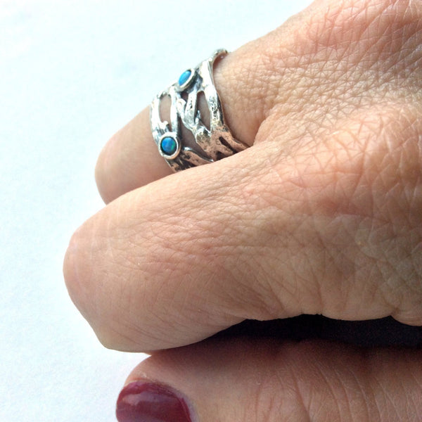 Opals ring, Wide silver Band, sterling silver ring, multi stones ring, Tibetan ring, Mothersring, boho ring, hippie - Spice girl  R1378