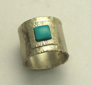 Turquoise ring, Wide oxidized band, unisex stone band, square gemstone ring, sterling silver ring, birthstone ring - Our destiny R1369C