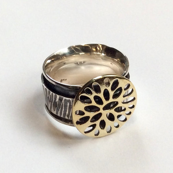 Brass silver ring, hippie ring, Two-tone ring, tribal ring, silver ring, Spinner ring, boho ring, oxidized band - Romantic love  R2339