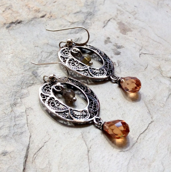 Champagne quartz filigree earrings