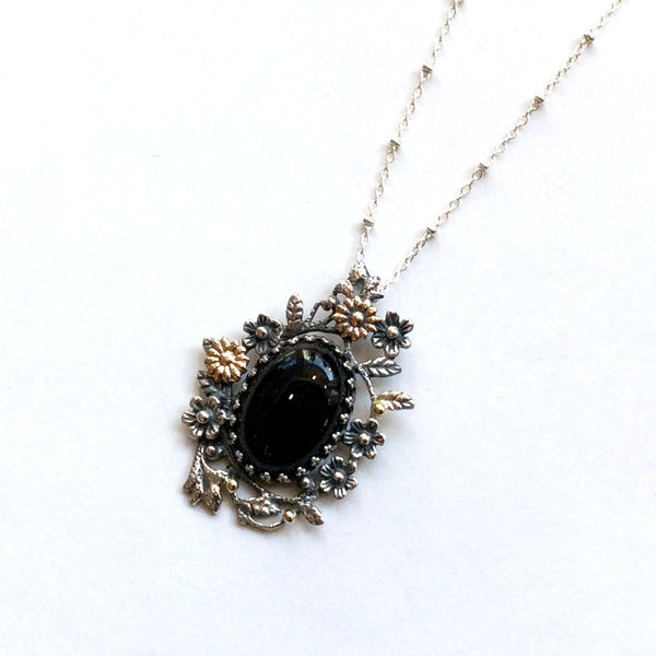 Onyx Floral pendant, gold silver necklace