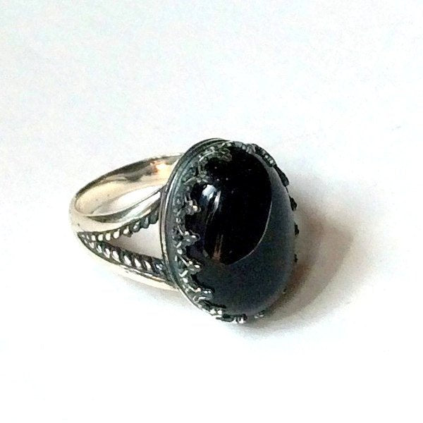 Onyx ring, Gemstone ring, Silver ring, statement ring, cocktail ring, crown ring, birthstone ring, bohemian ring - My first love R2058