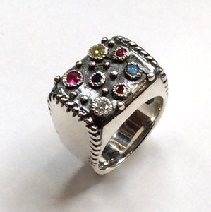 7 Birth stones ring, Mothers ring, Unique silver ring, gypsy ring, bohemian ring, sterling silver wide band, unique - Under her wing R2342