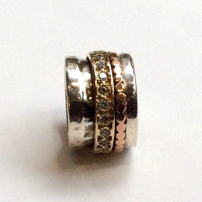 Silver wedding ring, yellow rose gold bands, eternity ring, spinning band, clear zircon spinner, wide wedding band - We'll Be Together R2349