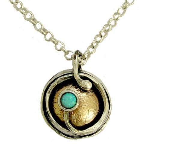 Opal Necklace, two-tone necklace, gemstone necklace, yellow gold silver necklace, round pendant, boho jewelry - A place under the sun N8980X