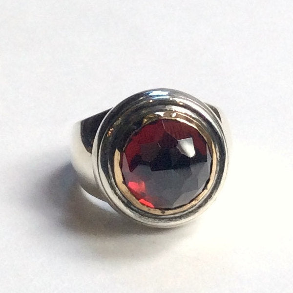 Garnet Ring, Statement Ring, January Birthstone Ring, Red Deep Garnet Gemstone Ring, Silver gold Ring, red Ring - Strawberry red R2351
