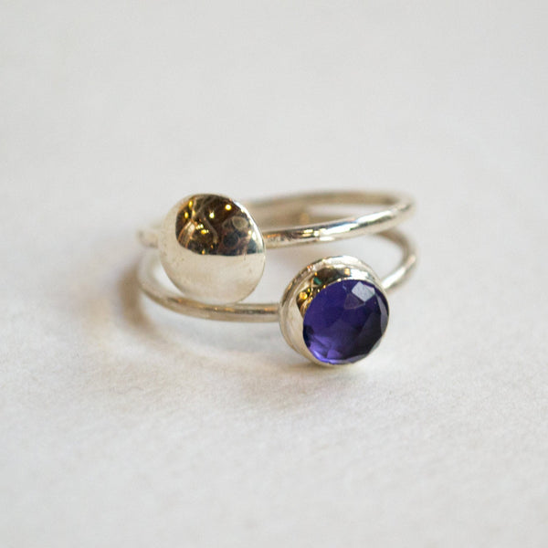 Amethyst ring, Birthstone silver ring, modern ring, delicate ring, stacking bands, minimalist ring, shiny silver ring - Back To You R2261