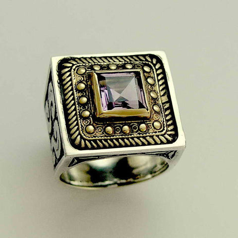 Amethyst ring, Sterling Silver Gold Ring, silver ring for women, boho ring, gypsy jewelry, unique ring for her, Square ring - Violet R1600X