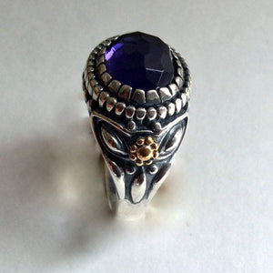 Amethyst Silver gold ring