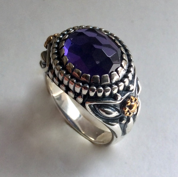 Amethyst statement two tone boho ring