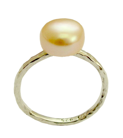 Pearl Ring, sterling silver ring, rose pearl ring, engagement ring, single pearl ring, delicate ring, dainty ring -Young love code- R1533