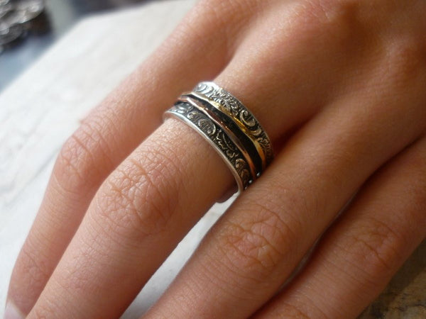 Gold Wedding Band, Silver Ring, unique mothers ring, Silver Gold Ring, gypsy ring, motion Ring, rustic band, boho - Ghost of my joy R1733A