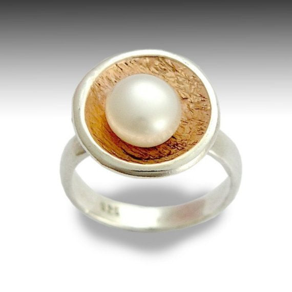 Silver rose gold pearl ring