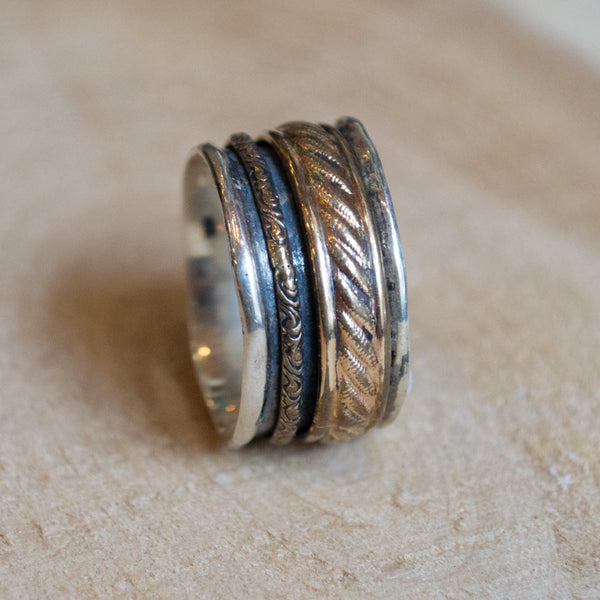 Sterling Silver Ring, Spinner Ring, gypsy Silver Band, Gold spinner Ring, Silver Gold Ring, twotone ring, unisex band - Limitless R2091