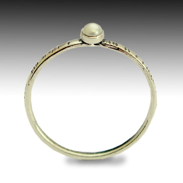 Skinny ring, Sterling silver ring, thin ring, grooved band, tiny pearl ring, stacking ring, engagement ring, dainty ring - Time out R1594X