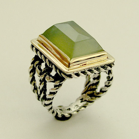 Green quartz ring, rectangle ring, Green stone ring, Victorian ring, silver gold ring, two tones ring, statement ring - Next to you R1553-1