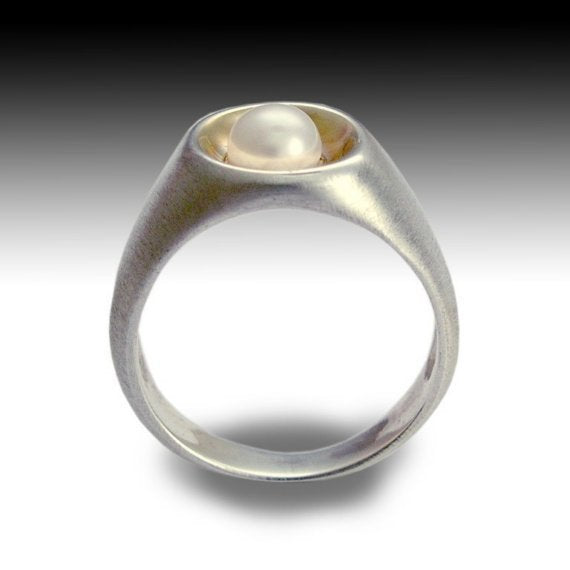 Sterling silver ring, silver yellow gold ring, single pearl ring, engagement ring, brushed silver ring, alternative ring - True love R1499G