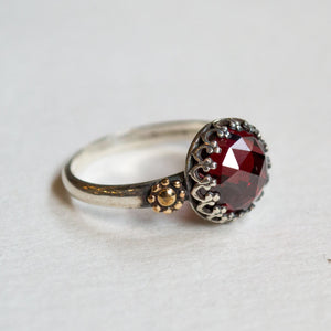 Garnet Ring, silver gold ring, floral ring, crown ring, engagement ring, dainty ring, boho ring, gypsy ring, simple - The magic moment R2264