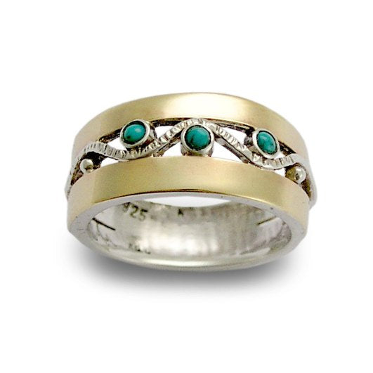 Sterling silver ring, silver yellow gold ring, zircons bad