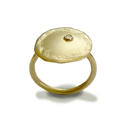 14k gold ring, simple ring, yellow gold ring, single diamond ring, gold diamond ring, round Disc  ring, solid gold ring  - Emotions RG1589