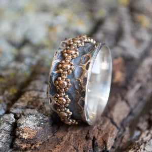 Spinner ring women, Sterling silver ring, thin floral ring, Boho jewelry, gold ring, wedding band, silver gold ring, oxidized - I feel R2171