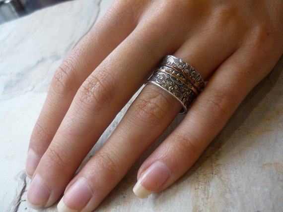Spinner ring, Meditation ring, Silver wedding band, rose yellow gold ring, stack band, boho ring, wide silver ring - A way of life R1209A