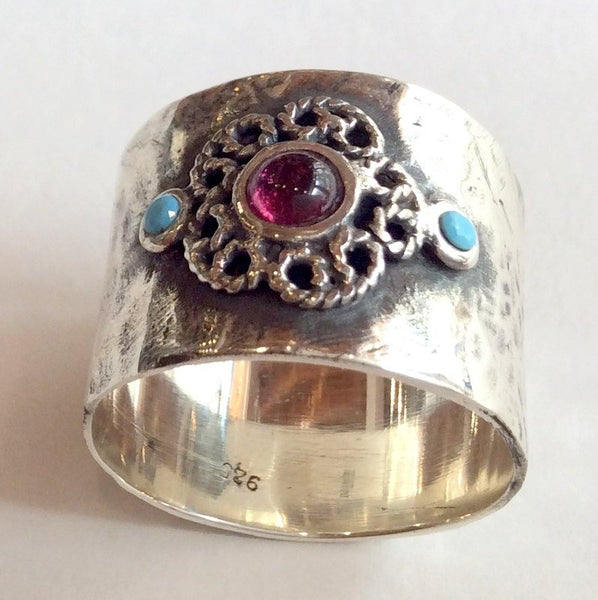 Boho ring, Sterling silver ring, Gypsy ring, turquoise ring, unique silver ring for her, garnet ring, flower ring - Just the two of us R2050