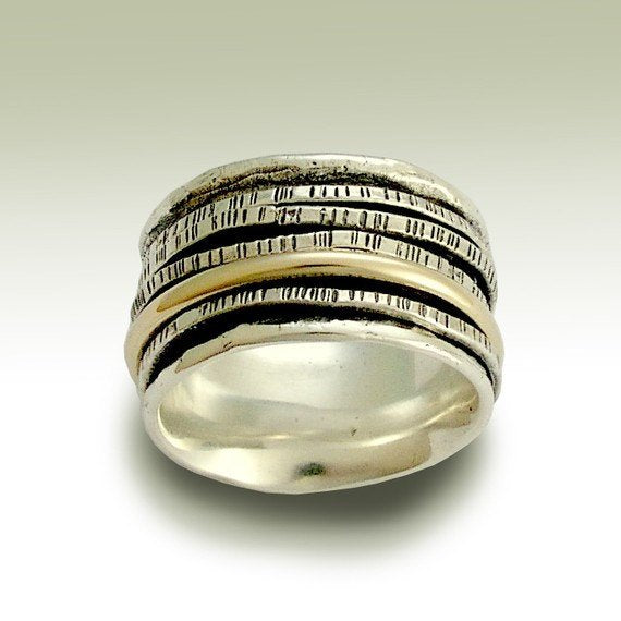 Silver wedding band, meditation ring, silver gold ring, stacking ring, boho spinner bands, Two tones ring, wide band - Set me free R1075E