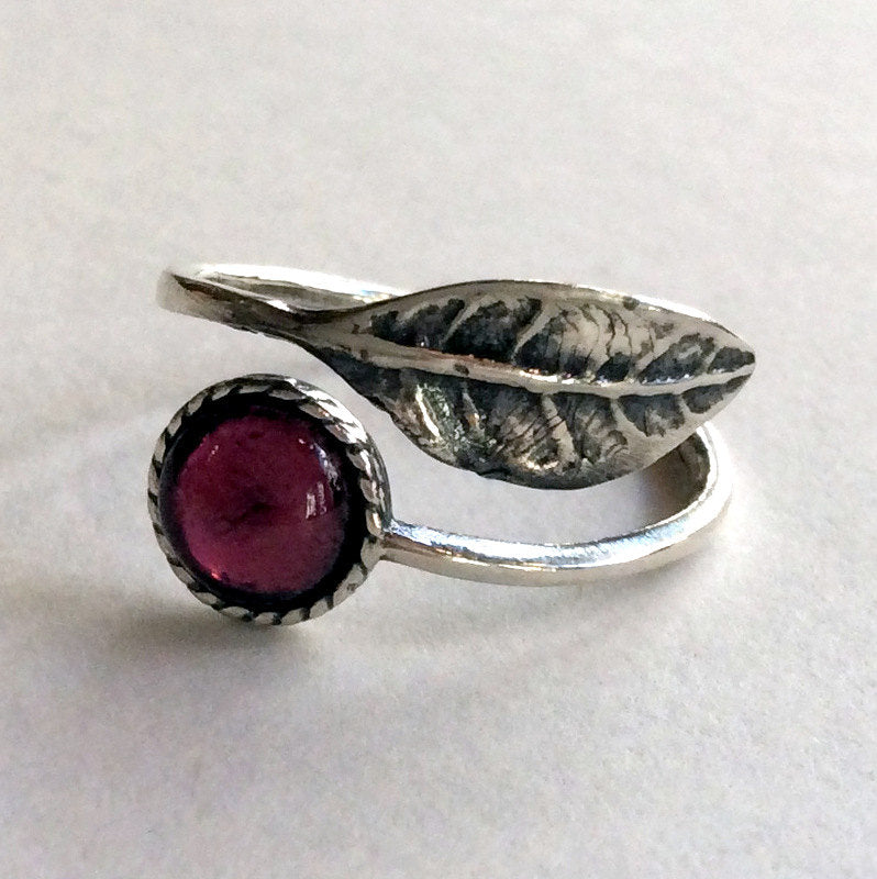 Thin ring, leaf ring, sterling silver ring, gemstone ring, garnet ring,  stone ring, stacking ring, delicate ring - Gone with the wind R2062
